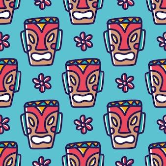 Rysunek ręcznie rysowane maski tiki hawaje z ikonami i elementami projektu