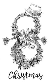 Rysunek ręka bałwana i kwiaty i szkic czarno-biały