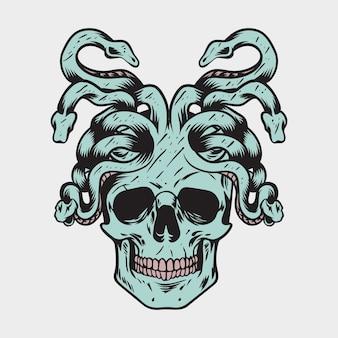 Rysunek ręka charakter czaszki