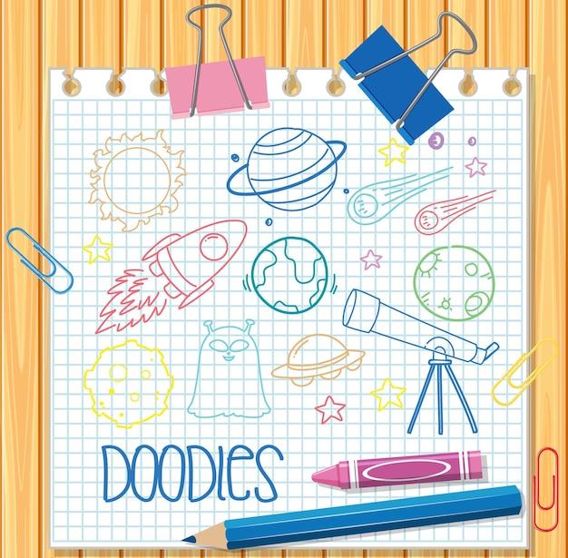 Rysunek ręka element przestrzeni doodle na papierze