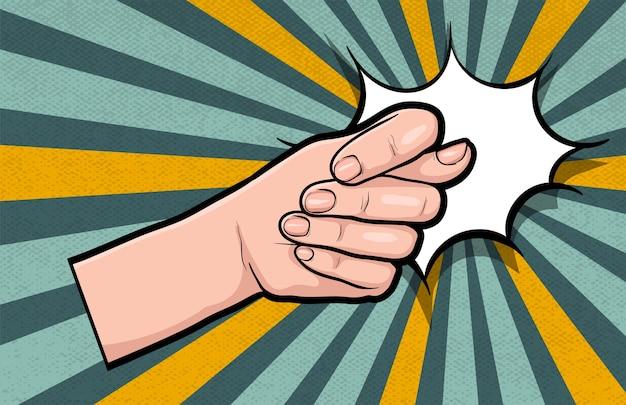 Rysunek ręka gest komiksu pop-art na białym tle. nie lubię negatywnych gestów