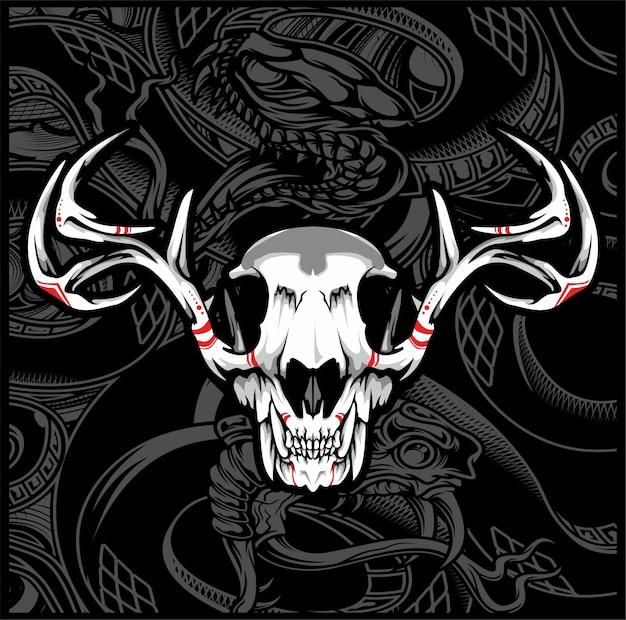 Rysunek ręka jelenia czaszki