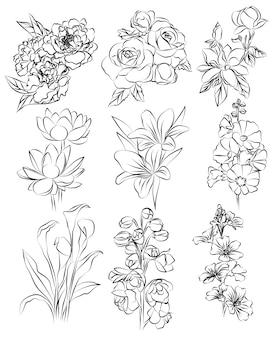 Rysunek ręka kwiaty zestaw szkic czarno-biały