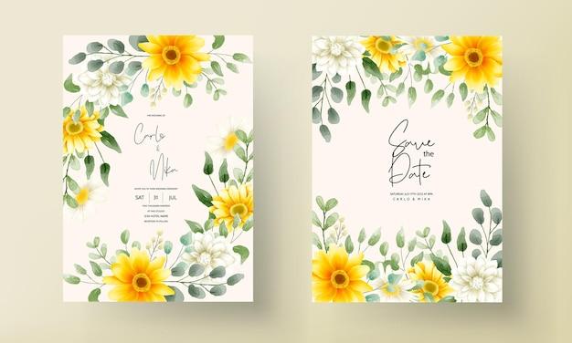 Rysunek ręka piękny kwiatowy wzór karty ślubu