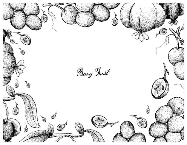 Rysunek ręka rama czerwonych winogron i pitanga