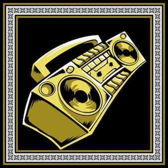 Rysunek ręka retro boombox