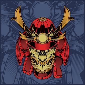 Rysunek ręka samuraj czaszki
