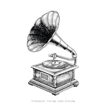 Rysunek ręka starodawny gramofon