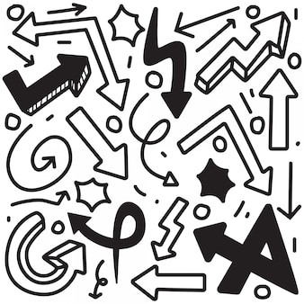 Rysunek ręka strzałka doodle