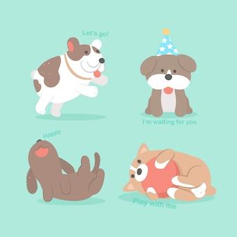 Rysunek ręka wektor ładny pies szczeniak kolekcja