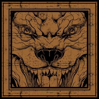 Rysunek ręka wilk stylu grunge, na białym tle