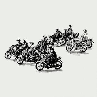 Rysunek ruchu na ulicy w wietnamie