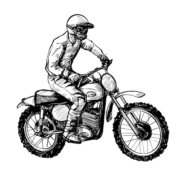 Rysunek rysunku dłoni jeźdźców motocross