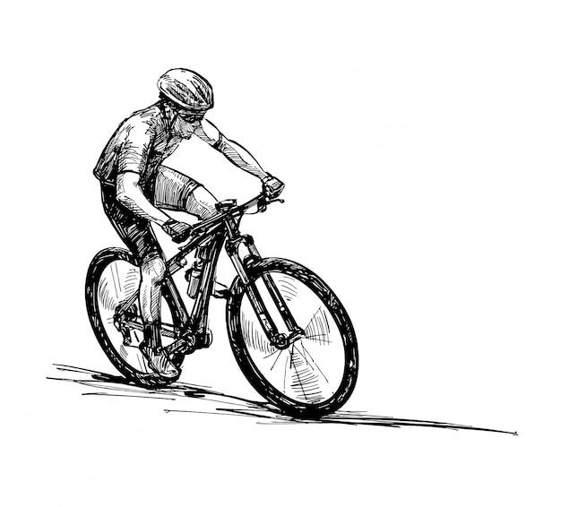 Rysunek rysunku dłoni zawodów na rowerze górskim
