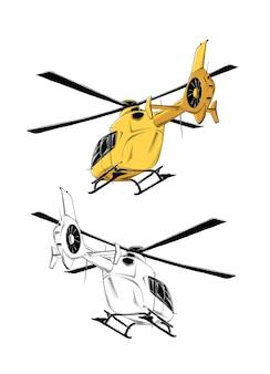 Rysunek śmigłowca w kolorze żółtym, na białym tle. rysowanie plakatów, dekoracji i druku.