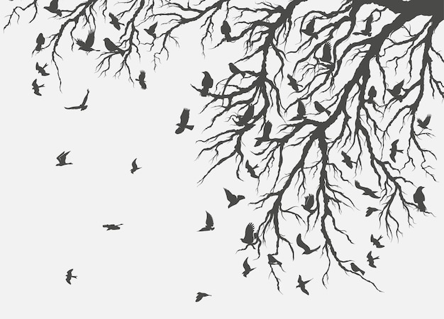Rysunek stado ptaków latających na gałęzi drzewa.