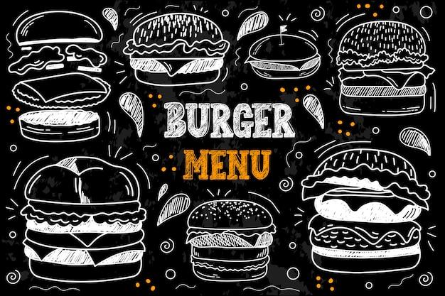 Rysunek starodawny kreda menu fast food. wektor zestaw fast foodów. hamburger, cheeseburger, kotlet mięsny, musztarda, pomidor, ser, cebula