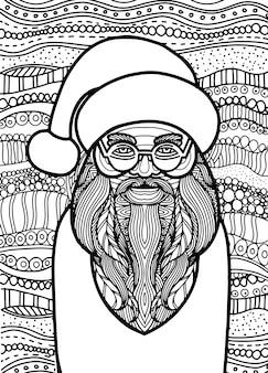 Rysunek styl zentangle świętego mikołaja dla kolorowanka