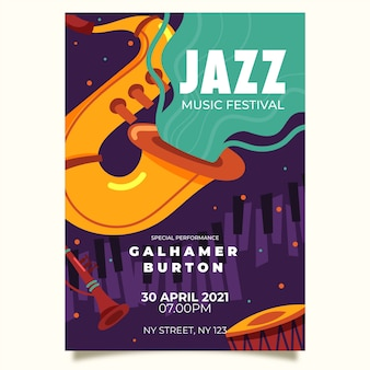 Rysunek szablonu międzynarodowego plakatu jazzowego