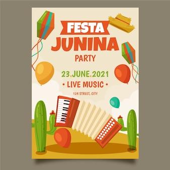 Rysunek szablonu plakatu festa junina
