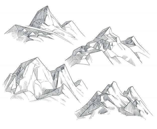 Rysunek szczyty górskie na białym tle retro akwaforta szkic