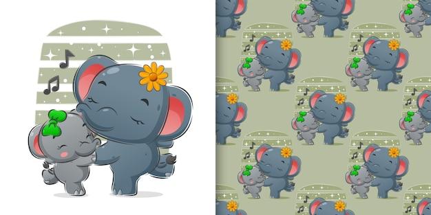 Rysunek tańczącego słonia z muzyką ilustracji