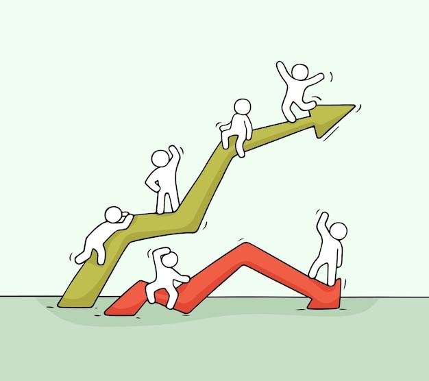 Rysunek w górę iw dół diagram z pracującymi małymi ludźmi. wyciągnąć rękę