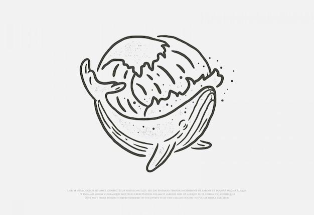 Rysunek wieloryba premium i fali w stylu linii