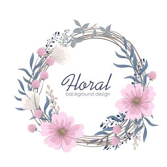 Rysunek wieńce kwiatowe - różowe kwiaty