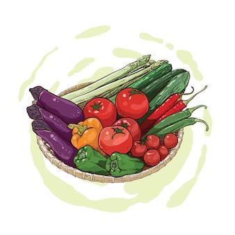 Rysunek z bakłażana, chili, ogórka i papryki