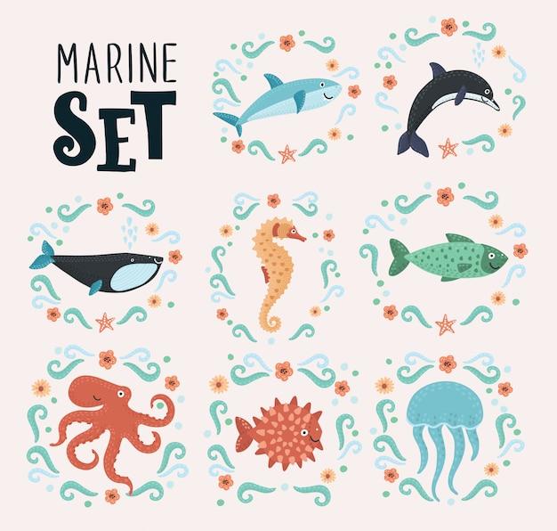 Rysunek zestaw stworzeń morskich ozdobiony kwiatem. śliczne zwierzęta morskie w stylu dekoracyjnym. na na białym tle. +