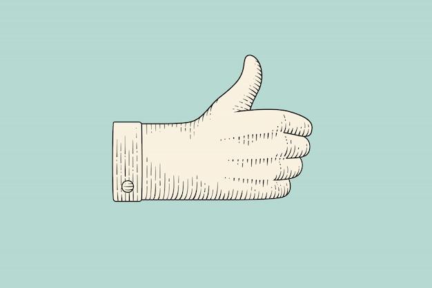 Rysunek znak dłoni z kciuki do góry w stylu grawerowania