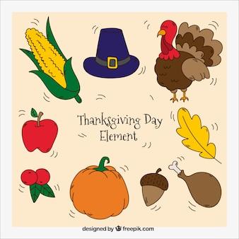 Rysunki elementów kolekcji dziękczynienia