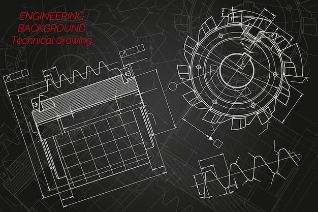 Rysunki inżynierii mechanicznej na czarnym tle. narzędzia tnące, frez. projekt techniczny. okładka. projekt. ilustracja wektorowa.