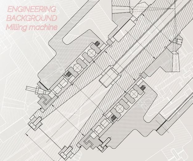 Rysunki inżynierii mechanicznej na jasnym tle