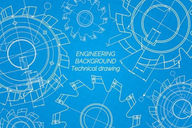 Rysunki inżynierii mechanicznej na niebieskim tle. narzędzia tnące, frez. projekt techniczny. plan. ilustracji wektorowych