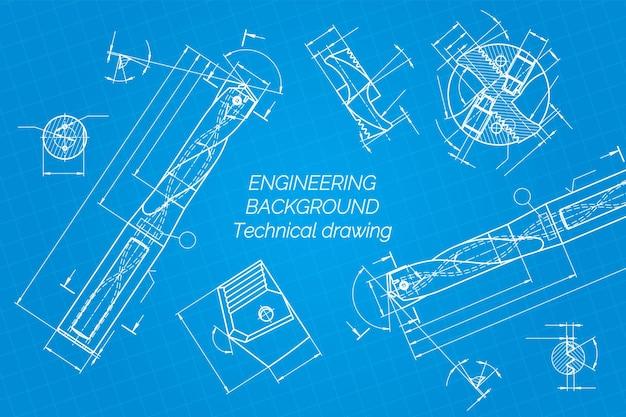 Rysunki inżynierii mechanicznej na niebieskim tle narzędzia wiertnicze świder projekt techniczny okładka blueprin...