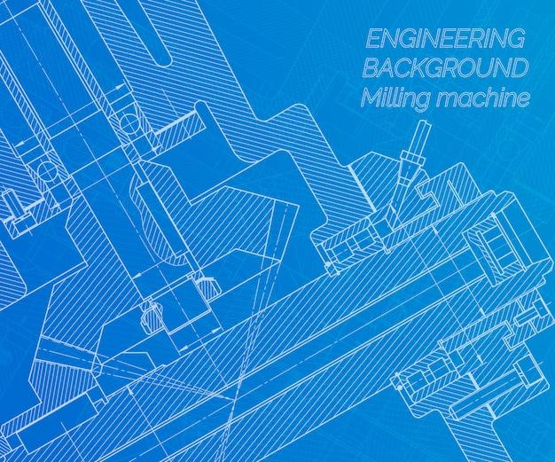 Rysunki inżynierii mechanicznej na niebieskim tle. wrzeciono frezarki. projekt techniczny.