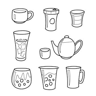 Rysunki liniowe napojów, szkice pojemników na wodę, kawę, herbatę i mleko.