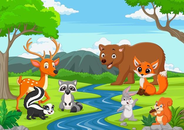 Rysunkowe dzikie zwierzęta w dżungli