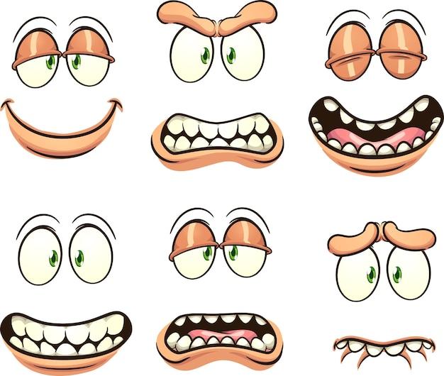 Rysunkowe twarze z różnymi wyrażeniami i emocjami