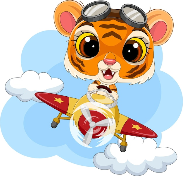 Rysunkowy tygrysek obsługujący samolot