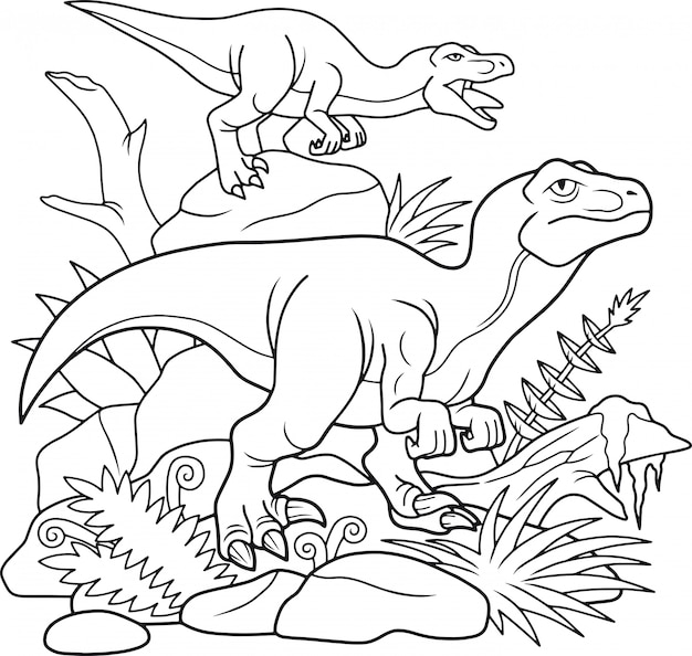 Rysunkowy velociraptor,