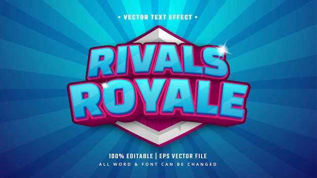 Rywal royale gaming 3d efekt stylu tekstu. edytowalny styl tekstu programu illustrator.