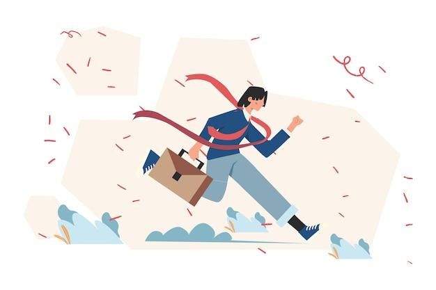 Rywalizacja ludzi biznesu, biznesmen przekraczający linię mety, ludzie biegną do celu