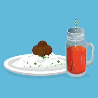 Ryż i mięso z sokiem pyszne jedzenie śniadanie