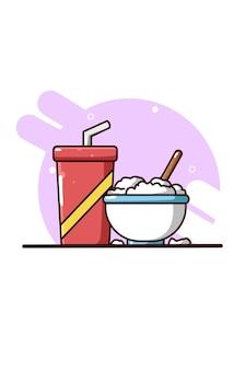 Ryż w misce i ilustracja kreskówka butelka napoju
