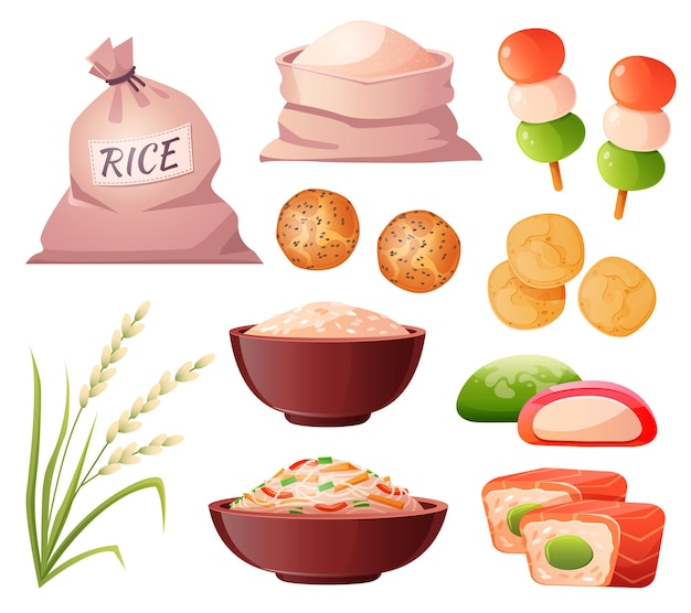 Ryż W Torbie I Mąka Miskowa W Kłosie Workowym I Tradycyjne Japońskie Jedzenie Darmowych Wektorów