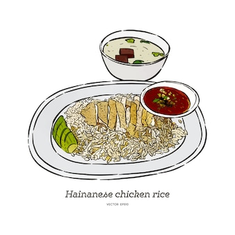 Ryż z kurczaka hainan z sosem i zupą, ręcznie rysować wektor szkic.