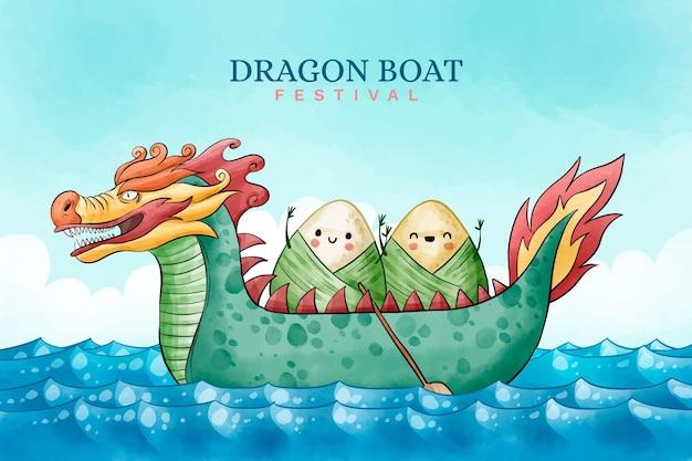 Ryżowe kluchy na smok łodzi tle